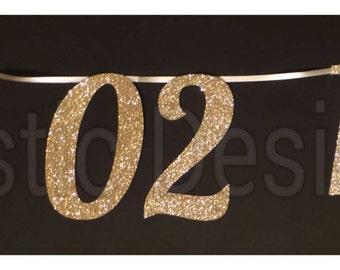 Save the Date custom banner, glitter