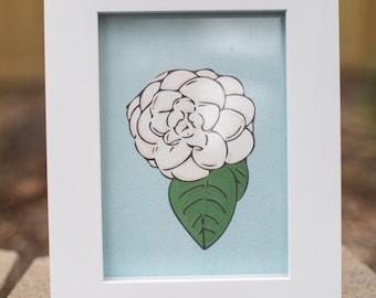 Camellia japonica illustration 5x7 print