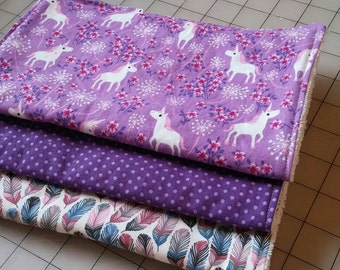 Purple Unicorn Feather Dotted Baby Girl Burp Cloth Spit Up Rag 3 Pack