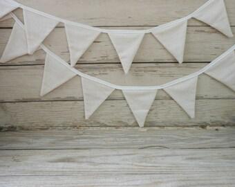 Neutral Cream Linen Bunting Banner