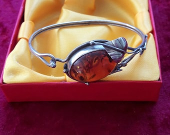 925 silver bracelet set with amber work hand