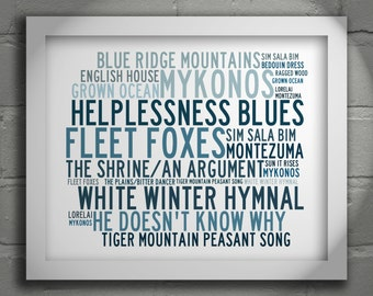 Crystalline FLEET FOXES Typography Art Print Lyrics Poster - Signed & Numbered Limited Edition Unframed 10x8 Inch Wall Art Print