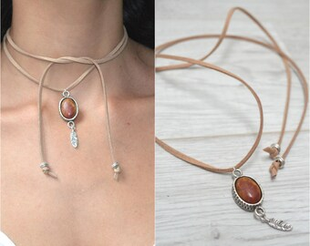 Suede Choker Necklace, Cabochon Gemstone Choker, Wrap Necklace, Tie Up Bolo Necklace, Bohemian Necklace, Wrap Choker, Free People jewelry