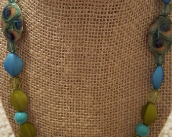 Beaded necklace, blue and green with toggle clasp