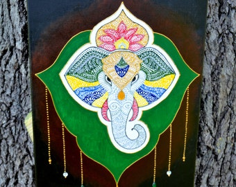 Mixed Media Acrylic Henna Painting, Elephant, Unique Global Henna Art, Colorful Canvas