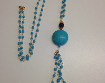 Women Necklace Jewelry Ethnic Rosario Turquoise Gold Long Swarovski Crystal Gift Girl Semi Precious Stones 100% Handmade