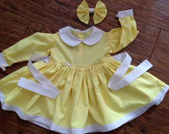 Baby Girls, Handmade Bodice Dress ,Lemon and White, Easter, Long Sleeve,From Birth To 5 Years.