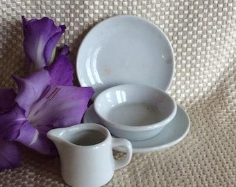Vintage Bavaria Germany Eschenback ceramic toy set miniature porcelain plate bowl and creamer