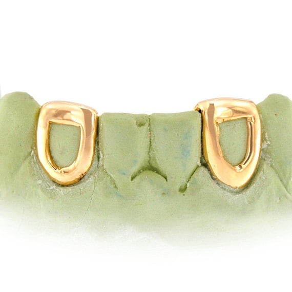 10k Solid Gold 2 teeth open face caps w/back by ...