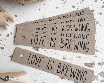 Rustic 'Love Is Brewing' Tags Pk20