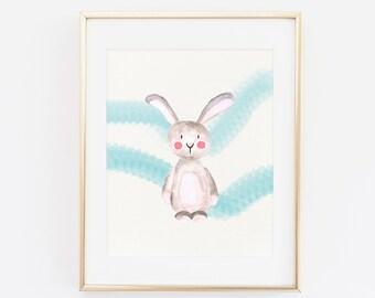 Cute Watercolor Rabbit, Nursery Art print, Printable Wall art, Pastel Watercolor Art print, Home Decor, Child's room art, Cute Bunny