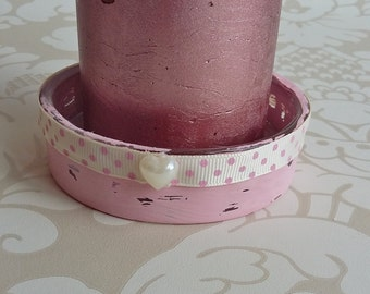 Dusky pink candle holder