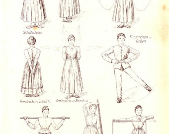 Vintage Book Page - Housewife Exercise - Digital Download