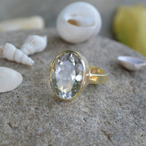 white quartz ring yellow gold ring oval cut ring stacking