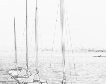 Sailboats In Line at the Center For Wooden Boats Seattle