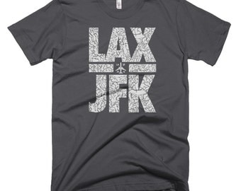 Travel T Shirt, Traveling T Shirt, Mens Travel Shirts, Travel Shirts Men, Lax T Shirt, Jfk T Shirt, Ny La, Nyla, New York Los Angeles