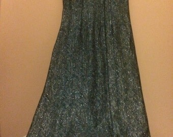 Vintage Blue Silver Brocade Mod Go Go Maxi Dress 1960s