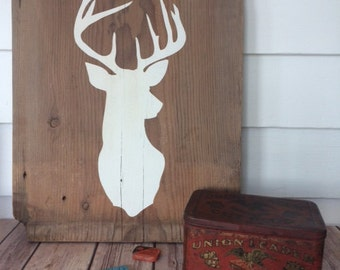 Man Cave Wooden Deer Head Sign Home Decor Wall Hanging Deer Silhouette Reclaimed Barn Wood Father's Day Gift