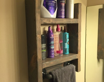 Rustic Weathered Bathroom Shelf w/ Gas Pipe Towel Rack