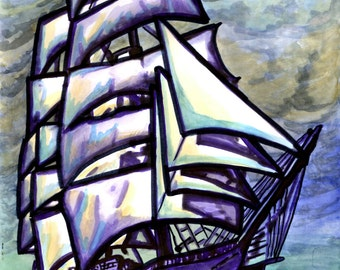"AnEL, XL original watercolor, sailing ship, ""Sail away"""