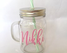 Personalized Name Mug - Birthday Gift for Her - Jar Tumbler - Bridesmaid Gift - Flower Girl Gift - Personalized Gift - Mint and Pink