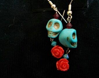 Rose skull earrings