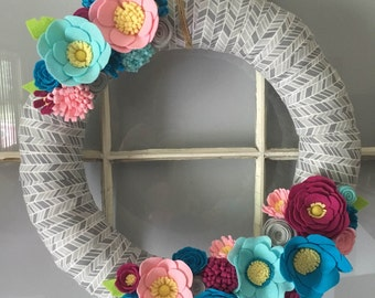 Bright and Colorful Felt Flower Wreath