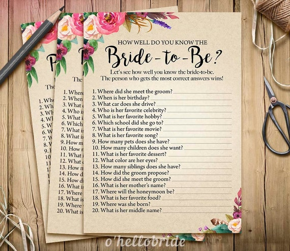Bohemian Bridal Shower How Well Do You Know The Bride To Be