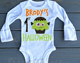Baby's First Halloween Bodysuit, Personalized Halloween Shirt, Boys' Halloween Bodysuit