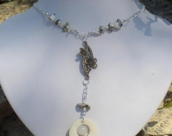 Glass, mineral and Pearl stone beads necklace