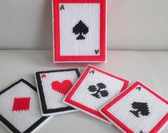 Vintage Playing Cards Aces Plastic Canvas Yarn Coasters With Container