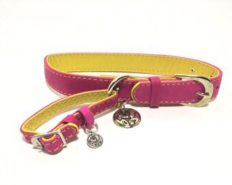 Pink/Yellow Dog Collar