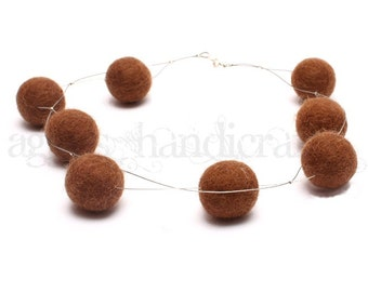 Felt Beads Necklace * Felt Jewellery * Felted Necklace * Brown