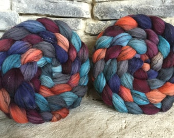 Merino/Black Tencel Combed Top Spinning Fiber 80/ 20 -23 micron - Hand Painted - Feltable - approx. 3.35 ounces/94 grams - NEBULA