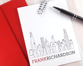 Personalized Stationery Set, Chicago Gifts, Custom Stationary, Chicago Skyline Art, Chicago Art Stationary, Mens Stationery, Set of 10