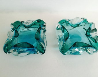 A Pair of Blue Green Murano Ashtrays by Flavio Poli