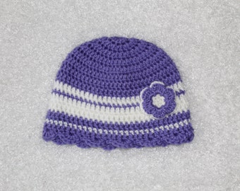 Purple and White Crochet Little Girls Hat with Flower, 12-24 Months