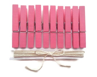 Pink Clothespins. Baby Shower Clothes Pins. Decorative Clothespins. Painted Clothespins. Bridal Party. Wedding Decor. Party Decor.Twine