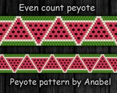 Watermelon bracelet pattern, watermelon peyote pattern, beadwork pattern, watermelon bead pattern, even count peyote Pattern #130, delica