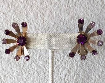 Vintage Mod Purple Rhinestone Earrings, Clip On, Goldtone Setting, Dark and Light Purple Stones, Ca. 1960s