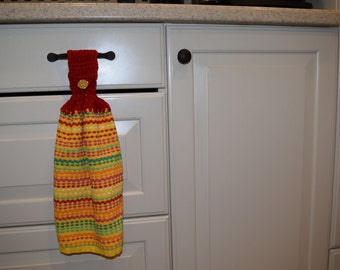 Crocheted Tea Towel - Yellow, Red