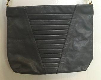 80s Vintage Grey Leather Purse