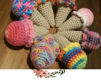 Crocheted Icecream Baby Rattles