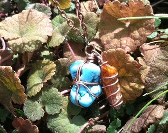 Deal of the day!!!*********** Turquoise & Carnelian Horn with Copper wrap