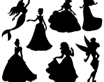 Disney princess svg silhouette clipart pack - Disney clip art digital download svg, dxf, eps, png