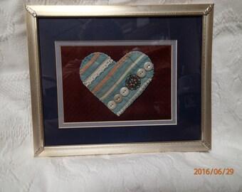Button Artwork. Vintage Quilt. Vintage Buttons. Vintage Lace. Heart. Artwork. Buttons. Filigree. Rustic Decor. Unique Artwork. Handmade.