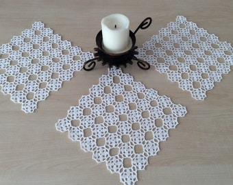 Set of 3 square doilies,crochet doily ,square doily