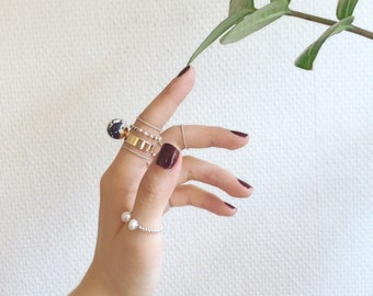set of rings, silver 925 with little pearls