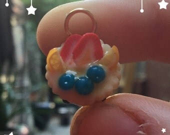 Polymer clay fruit tart charm