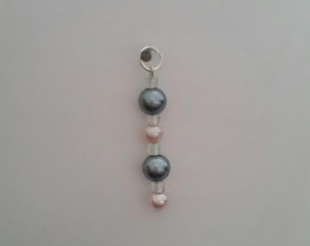 "Gray & Pink ""Pearls"" Charm"